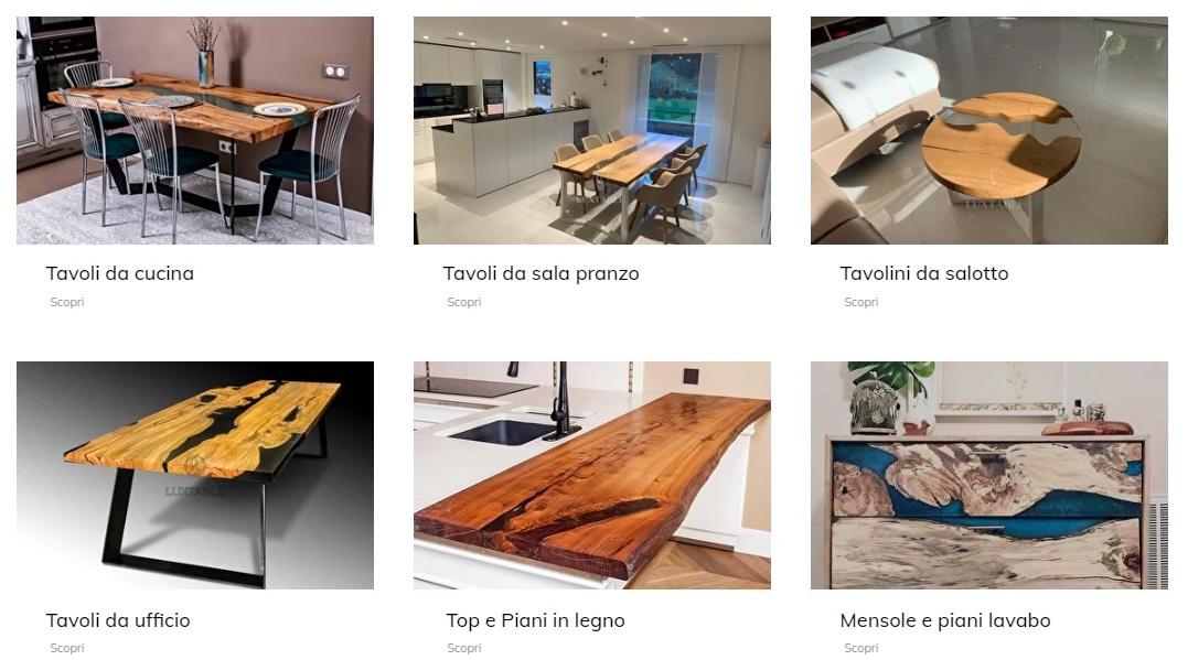 luxtable, tavoli in legno e resina